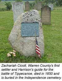 photo: Zacariah Cicott died in 1850 and is buried in Independence Cemetery.